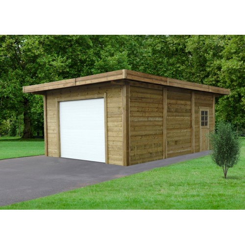 Tuinhuis-Blokhut carport-garage combinatie (S7756): 5064 x 7064mm