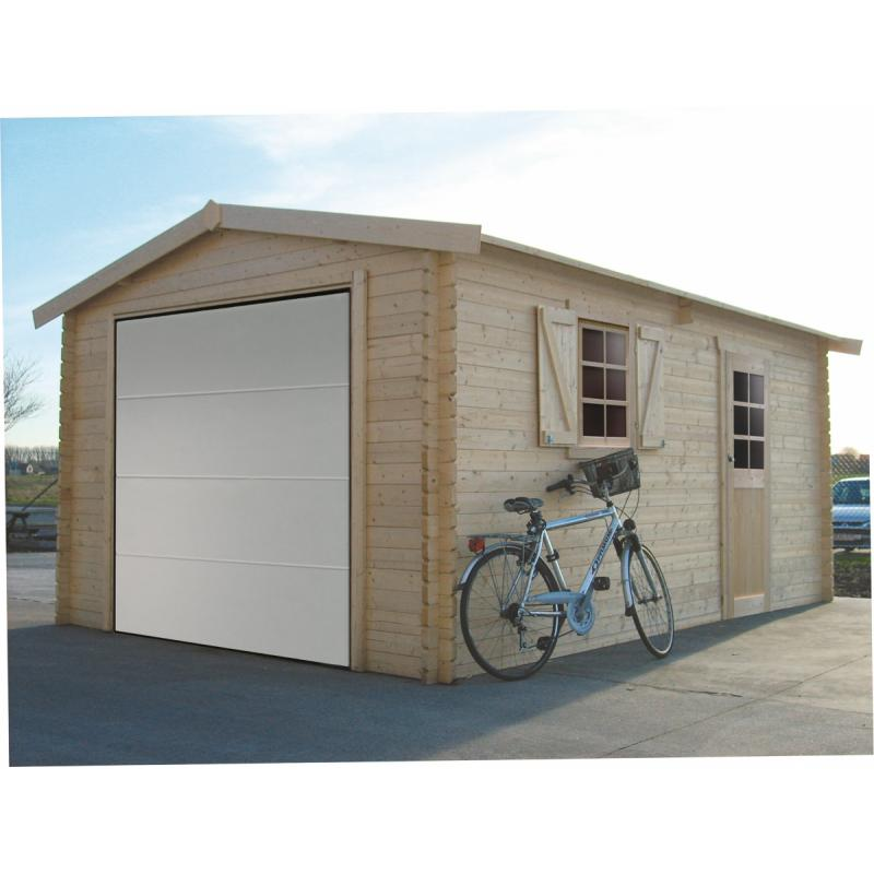 Tuinhuis-Blokhut garage traditioneel sectionale poort (S8946): 3580 x 5380 - 40mm
